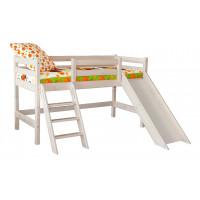 Низкая кровать Соня с наклонной лестницей и горкой (Вариант 14)