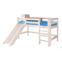 Низкая кровать Соня с прямой лестницей и горкой (Вариант 13)