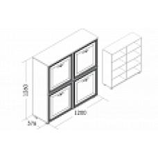 Комод Николь (2 фасада глухих, 2 фасада со стеклом)