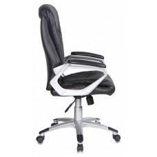 Кресло руководителя Бюрократ CH-875S  черный искусственная кожа (пластик серебристый)