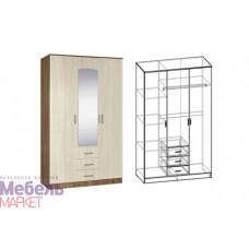 Шкаф распашной 3-х створчатый комбинированный с зеркалом Светлана