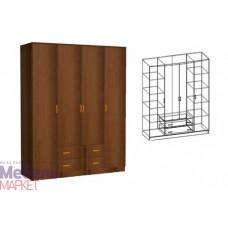 Шкаф распашной 4-х створчатый комбинированный без зеркала Светлана