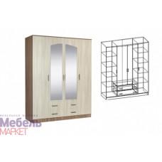 Шкаф распашной 4-х створчатый комбинированный с зеркалом Светлана