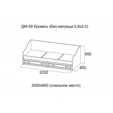 Вега ДМ-09 Кровать без матраца 0,9*2,0