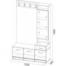 Модульная Система №1 Вешалка с зеркалом 1966 1,2м